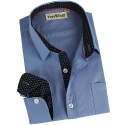 Chemise bleue enfant avec poche