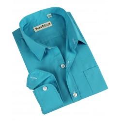 Chemise uni col français - garçon - turquoise