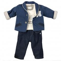 Ensemble trois pièces veste, sous pull et pantalon - bébé garçon - bleu