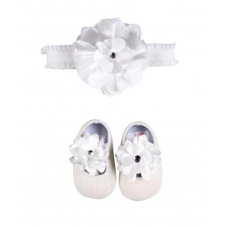 Ensemble deux pièces chaussures et bandeau - ivoire - fille