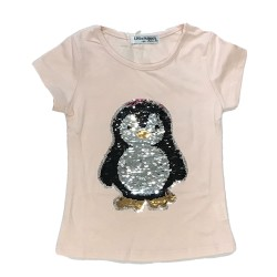 T-shirt pingouin rose sequin réversible fille