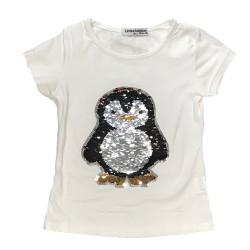 T-shirt pingouin blanc sequin réversible fille