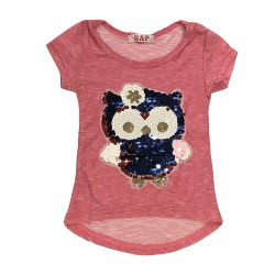 T-shirt hibou rose sequin réversible fille