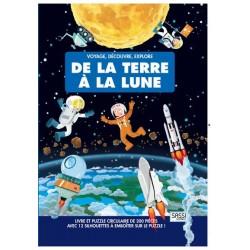 Livre et puzzle 200 pièces + 10 silhouettes à emboiter sur le thème de la terre à la lune