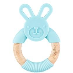 Hochet de dentition lapin Nibbling en bois et silicone bleu