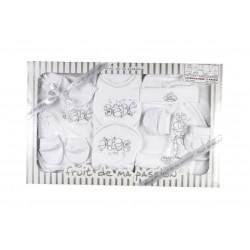 Coffret 3-6 mois blanc/gris 13 pièces