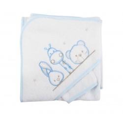 Parure de bain girafe lapin et ours blanc bébé
