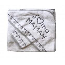 Parure de bain j'aime ma maman blanc gris bébé