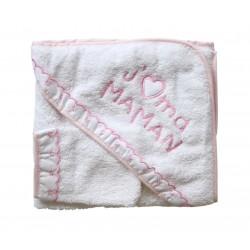 Parure de bain j'aime ma maman blanc rose bébé