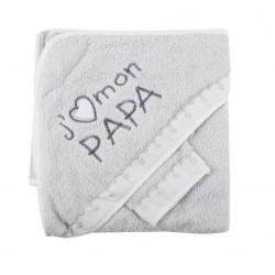 Parure de bain j'aime mon papa gris bébé
