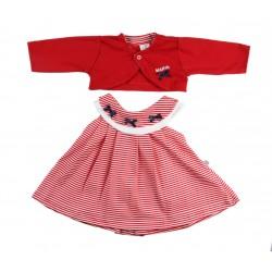 Ensemble 2 pièces robe et gilet rouge