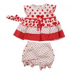 Ensemble bébé fille 3 pièces - robe , bloomer et bandeau beige