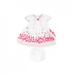 Ensemble bébé fille 3 pièces - robe , bloomer et bandeau rouge