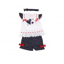 Ensemble bébé fille 3 pièces - tee shirt, short et bandeau