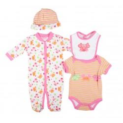 Parure naissance 4 pièces - bébé fille - rose