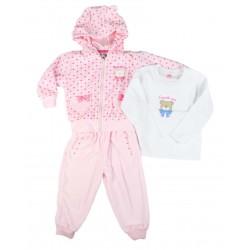 Ensemble trois pièces - jogging peau de pêche, tee shirt long - bébé fille - rose