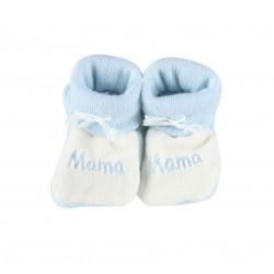 Chausson naissance mama - bébé garçon - bleu et blanc