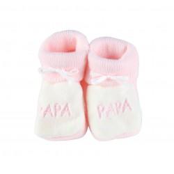 Chausson naissance papa - bébé fille - rose