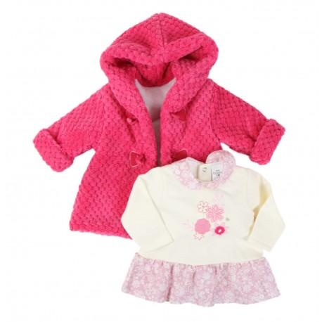 Ensemble 2 pièces - robe et manteau - bébé fille - rose