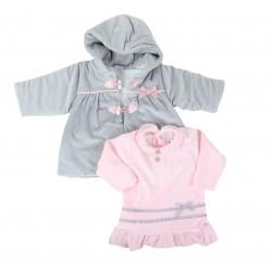 Ensemble 2 pièces - robe et manteau - bébé fille - rose et gris