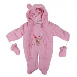 Combinaison intérieur polaire - bébé fille - rose
