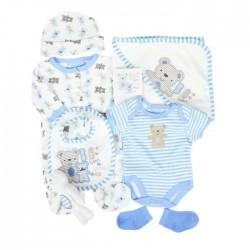 Parure de naissance 7 pièces motif nounours - bébé garçon - bleu