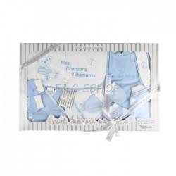 Coffret naissance (0-3 mois) blanc/bleu 11 pièces