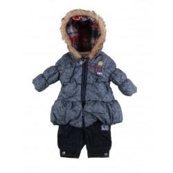 Lee cooper - ensemble trois pièces parka intérieur polaire, sous pull et jean - bébé fille - ivoire
