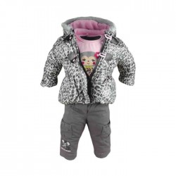 Ensemble trois pièces - doudoune, tee shirt manche longue, pantalon - bébé fille - gris et rose